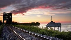 Coucher de soleil sur le Lac-Sant-Jean du 01-08-2016 (gaudreaultnormand) Tags: canada coucherdesoleil ete lacsaintjean longexposure longueexposition quebec sunset chemindefer horizon ciel extrieur pont bridge railway wow