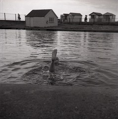 Brightlingsea Outdoor Lido Swimming Pool 1957 Black & White 120 original negatives (Photos by Alf Jefferies) Tags: woman girl swimming pool brightlingsea lido old beach huts black white 120 original negatives seaside save our