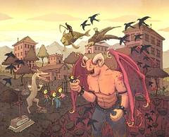 Dwellings CD Cover - Outer Tray (Junkyard Sam) Tags: art drawing illustration devil demon graveyard sunset