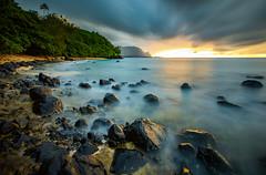 Hideaways Beach (Michael Zampelli) Tags: kauai princeville hideaways hanalei palikekua sunset timeexposure ndfilter