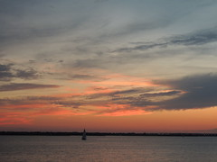 Saturday colors (ptcruiser4dogs) Tags: lakehefner atthelake saturday lake okc colors oranges pinks blues coulds weather sunset rays water h2o summer lighthouse sun night waves