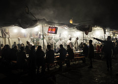 No. 32 Hassan's (Tom Blanden) Tags: street travel light shadow food travelling night square market culture stall steam morocco marrakech nightlife kebab chefs skewers marakech tagine jemaa elfna