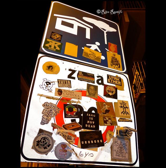 Roma. Pigneto. Sticker art by Kocore, Aloha Oe, Murphy mrf, Pino Boresta, BAM, Omino71, K2m, Stelleconfuse, Sparla, Lus57 and.
