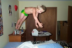 Jumping on the bed (KaseyEriksen) Tags: boy silly kids digital fun jump jumping funny child kodak speedo leap