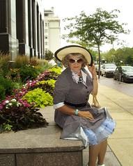 Out Of The Past (2013): A Woman With Little Sense Of Decorum (Laurette Victoria) Tags: hat sunglasses downtown dress milwaukee slip petticoat kerchief laurette