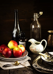 Still life with apples. (azimavu) Tags: life stilllife food color art beauty fruit composition vintage dark table wooden juicy bottle still healthy dish background country rustic tasty plate bowl delicious meal eg