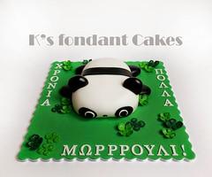 Panda Bear Cake (K's fondant Cakes) Tags: bear white black green cake panda fondant