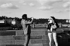 """Portrait with my baby."" (Michaela Kostkov) Tags: city portrait people bw woman art film animal analog photography iso400 documentary analogue analogphotography artshot blackandwhitephotography foma artphotography werra classicphotography peopleandanimals carlzeissjena filmshot foma400 analogblackandwhitephotography analogphotographyanaloguephotography photoofbw peopleinpublicplace"