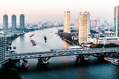 Bangkok Morning Traffic. (jssutt) Tags: skyscraper sunrise thailand bangkok tripod shangrila hdr hdri bts thonburi chaophrya thailandphoto horizonclub jssutt jeffsuttlemyre