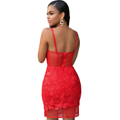 Andy Ramon seductive red lace dress sexy suspenders