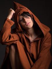 Meryem (aminefassi) Tags: portrait people blackandwhite bw fashion studio morocco maroc tunic onelight djellaba jellaba  strobist aminefassi meryembenjelloun