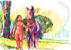 INSPIRACIN (GARGABLE) Tags: madrid horses naturaleza nude caballo campo apuntes lpicesdecolores uskspain gargable angelbeltran angelbeltrn