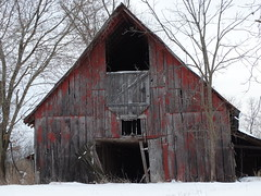 Old red barn up close. (Gerald Barnett) Tags: winter red usa building art abandoned closeup barn rural buildings outdoors grey countryside illinois availablelight farm gray barns atmosphere oldbuildings wintertime inspirational contemplative derelict oldbuilding oldwood decayed bestpicture redbarn oldbarn artphoto ruralamerica southernillinois bestpic artpic bestphoto farmscene ruralpic