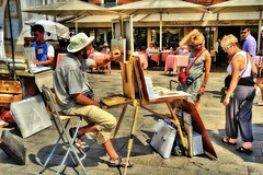 street scene (CardCollector & HobbyPhotographer) Tags: venice italy streetscene painter sonydscr1