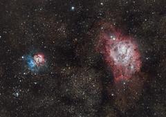 Lagoon Nebula/M8 and Trifid Nebula/M20 (Claus Steindl) Tags: sky night canon way stars eos lagoon nebula astrophotography m8 milky ef m20 400mm lacerta trifid deepsky mgen f56l heq5 7da astrometrydotnet:status=solved astrometrydotnet:id=nova1555712