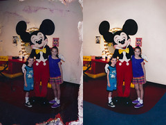havekaj_sayreville_20130216_020_cr2x_RIP_BDv1_st2_splice (CARE for Sandy) Tags: blue boy red vacation holiday storm reflection girl smile smiling standing children happy mirror costume colorful disneyland interior duo vanity ears siblings dirty indoors frame mickeymouse inside shorts damaged waltdisney emulsiondamage hurricanesandy