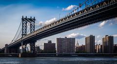 Manhattan Bridge, NYC (ravi_pardesi) Tags: nyc ny newyork art beautiful skyline architecture evening spring outdoor dusk manhattan dumbo bridges bluesky serene awesomeness dayshot