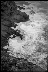 looking down, cliffs, rocks, surf, Little White Head, Monhegan, Maine, Bencini Koroll 24S, Ilford FP4+, Ilfosol 3 Developer, 3.17.16 (steve aimone) Tags: 120 film monochrome mediumformat rocks surf maine cliffs lookingdown atlanticocean monhegan ilfordfp4 monheganisland bencinikoroll24s epsonperfectionv500 littlewhitehead ilfordilfosol3developer