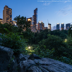 Central Park Twilight (DSC01595-Edit) (Michael.Lee.Pics.NYC) Tags: longexposure newyork architecture night square twilight pond rocks cityscape centralpark sony hill bluehour a7rm2 zeissloxia21mmf28
