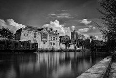 Silky smooth (James Waghorn) Tags: longexposure england blackandwhite water clouds reflections river kent spring nikon smooth medieval allsaints maidstone nisi archbishopspalace nd1000 d7100 silverefexpro2 sigma1750f28exdcoshsm
