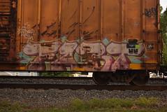 FART (TheGraffitiHunters) Tags: street pink blue art yellow train graffiti colorful paint purple tracks spray fart boxcar freight benched benching