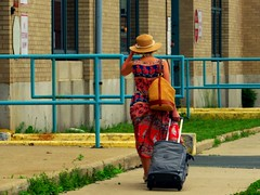 Gone girl (Renee Rendler-Kaplan) Tags: she city woman building june female canon walking outside outdoors dress walk going sidewalk there railing coming strawhat chicagoillinois chicagoist 2016 strawbag thewindycity rollingsuitcase reneerendlerkaplan canonpowershotsx530hs