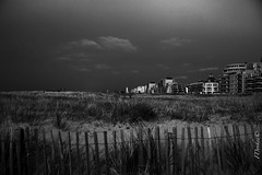 Almost on the beach (The world in f stops) Tags: wood sky blackandwhite holland beach nature netherlands monochrome field grass canon fence buildings landscape spring sand outdoor dunes