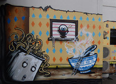 Noodle Soup (Steve Taylor (Photography)) Tags: city newzealand christchurch wallpaper streetart hot building eye art strange fun soup graffiti weird crazy cool scary mural ryan jacob spoon bowl eerie canterbury steam diamond spooky airconditioner odd eyeball nz chopsticks southisland cbd pan noodle ladder scared mad leaning yikes tipping mousehole frightening tipped heatpump