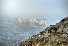 Rocks in the fog, Alderney (neilalderney123) Tags: cliff water weather fog landscape rocks olympus alderney 2016neilhoward