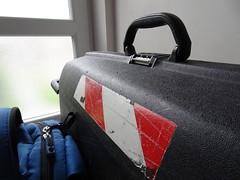 Here we go again (stevenbrandist) Tags: travel stripes luggage suitcase travelogue samsonite