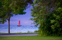 Framed Lighthouse (imageClear) Tags: morning trees lighthouse lake color nature beauty wisconsin landscape aperture nikon flickr framed lakemichigan lakeshoredrive lakeshore lovely sheboygan photostream 80400mm d600 imageclear