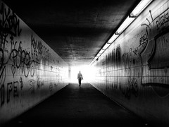 into the light (Sandy...J) Tags: olympus monochrom fotografie mono noir sonnenlicht women atmosphere atmosphre alone allein urban unterfhrung underpass sunlight tunnel dunkelheit frau street streetphotography sw schwarzweis strasenfotografie stadt silhouette shadow strase walk white wall wand germany gehen gegenlicht grafitti blackwhite bw black bavarian bayern backlight light licht lines linien walking deutschland darkness dark durchgang photography passage