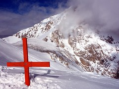 """Summit cross of Monte Aquila with the shoulder of Corno Grande behind • <a style=""""font-size:0.8em;"""" href=""""http://www.flickr.com/photos/41849531@N04/17163064097/"""" target=""""_blank"""">View on Flickr</a>"""