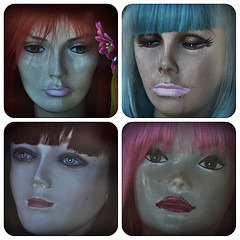 Fools Rush In (Mannequins, Glendale, Calif.) (Alexander C. Kafka) Tags: mannequin hair faces surreal lipstick melancholy uncanny characterstudy