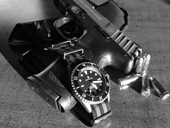 Watch and Pistol (AJ Powell) Tags: pistol titanium 9mm smithwesson steinhart oceanone steinhartwatch
