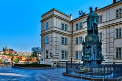 Early morning at the Square of the Knights of the Cross in Prague (kadofr) Tags: prague charles bridge vltava moldau czech