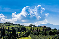 Flight Path (*Capture the Moment*) Tags: blue sky clouds landscape outdoor felder himmel wolke wolken tuscany blau landschaft toskana 2015 monestery abteikirche santantimo farbdominanz
