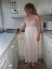 Pink nightie (VickiCD47) Tags: nylon nightdress