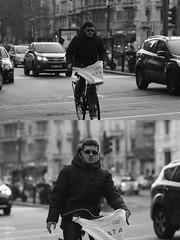 [La Mia Citt][Pedala] (Urca) Tags: portrait blackandwhite bw bike bicycle italia milano bn ciclista biancoenero mir bicicletta 2015 pedalare dittico 83928 nikondigitale ritrattostradale