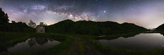 1112 (Keiichi T) Tags: milkyway sky    eos  green canon  reflection shadow japan    star mountain night  forest tree water     6d  blue  ricefield light