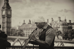 Electric Saxophone (cuppyuppycake) Tags: street uk bridge england music playing man london westminster electric thames river big ben outdoor south centre bank performer saxophone