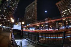 Flatiron @ Night (Brandon Godfrey) Tags: newyorkcity newyork nyc thebigapple flatironbuilding manhattan subway subwaystation night lighttrails city urban cityscape moon unitedstatesofamerica unitedstates usa