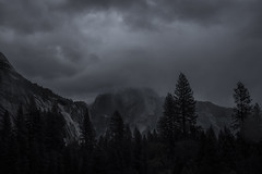 StormyHalfDome (shaunezell) Tags: sky blackandwhite mountain storm mountains nature clouds dark landscape nationalpark outdoor yosemite halfdome yosemitenationalpark yosemitevalley