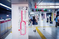 For Daimon, Roppongi, Shinjuku (hidesax) Tags: leica signs station japan underground subway tokyo map platform x passengers route shiodome oedoline vario hidesax fordaimonroppongishinjuku