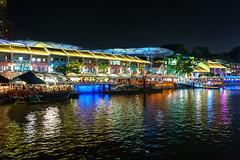 Night view at Clark Quay (tekgator) Tags: singapore singapur river fluss travel reisen lake colorful colors bridge brücke skyline water waterfront wasser architecture architektur city stadt night nacht alpha6000 sony sonya6000 farben boat boot clarkquay clark quay