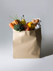 42-49489485 (nimblepictures) Tags: stilllife food color fruit cutout shopping bag bread one commerce egg nobody vegetable full indoors whitebackground merchandise produce studioshot variety conceptual multicolored product groceries shoppingbag paperbag bakedgood preparedfood 49489485 4249489485