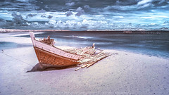 Abandoned - IR version (KRW_GNS) Tags: ocean wood old blue light sunset sea sky orange sun white mountain abstract black art abandoned beach broken nature water up yellow clouds vintage landscape evening boat wooden high twilight fishing sand ship background transport dry shipwreck transportation rest damaged mull isle barge wreak