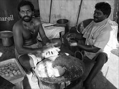 People in India: Making sweets (Romtomtom) Tags: people india kerala schwarzweiss indien ind kottapuram panasonicdmcgx7