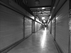 Closed Market. Doncaster. (ManOfYorkshire) Tags: bw building closed market eerie tiles shutters stalls doncaster lightin