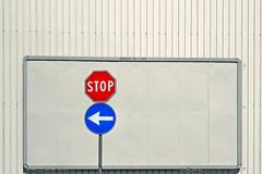 svolta obbligata (Rino Alessandrini) Tags: blue red signs metal turn grigio blu gray shed stop sheet ban breakthrough signal rosso segnaletica segnale divieto indication metallo indicazione lamiera girare capannone svolta